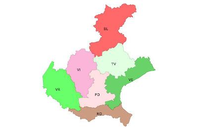 Immagine delle sette province attuali del Veneto