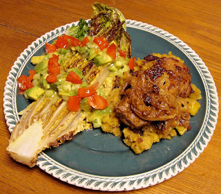 Cuban dinner with pork chops, plantain mash & seared romaine