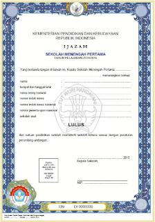 Download Blangko Ijazah SD, SMP, SMA dan SMK Th. 2015