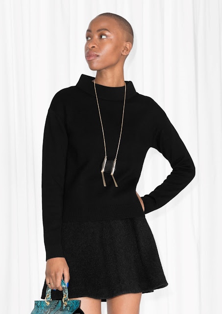 black wide neck jumper, stories wide neck jumper,