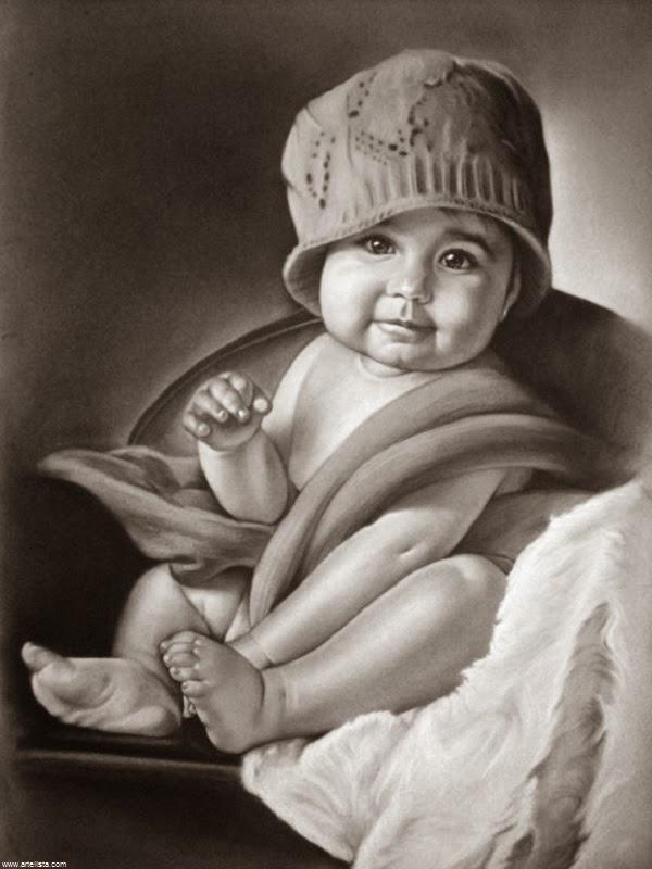 Dessin bébé mimi noir et blanc