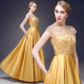 Model Gaun Pesta Brokat Kuning Keemasan 2015