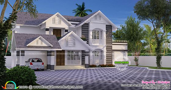 Sloped roof house design by Roshini Rajeev