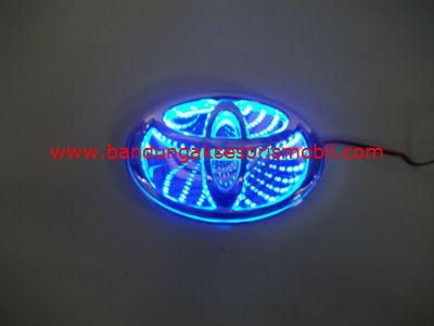 Front Logo + Lampu 3D Toyota Biru