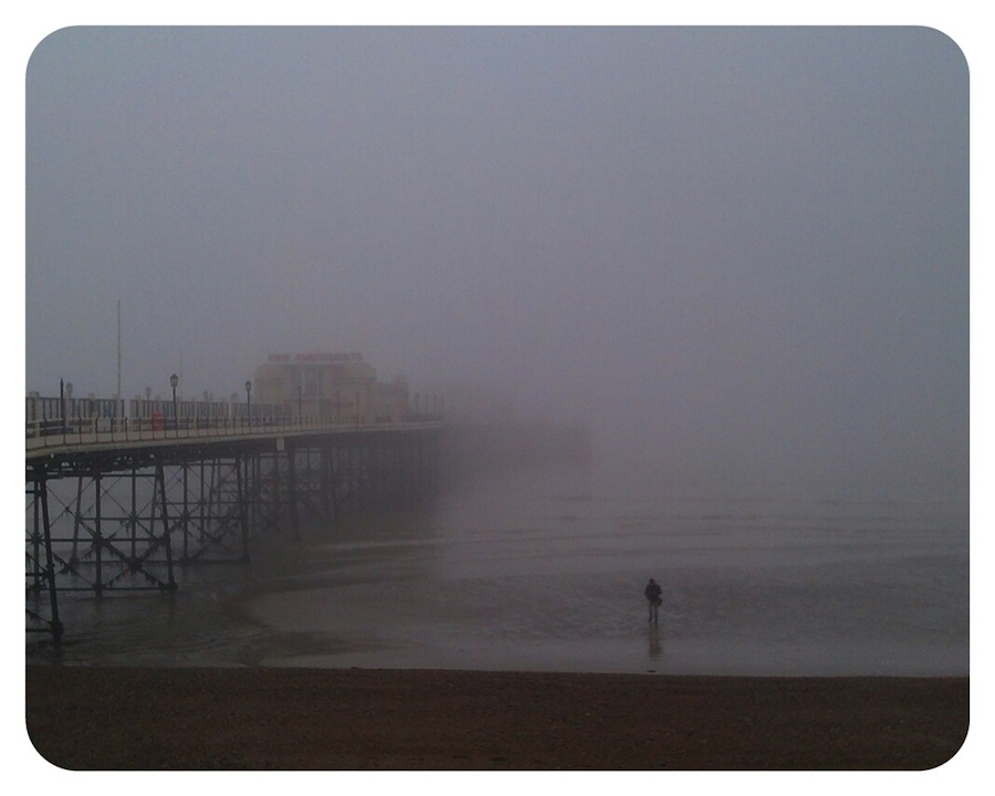 Fog covers Worthing Pier