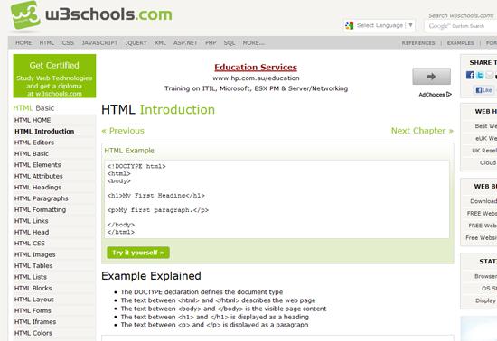 Belajar HTML Online Percuma w3schools
