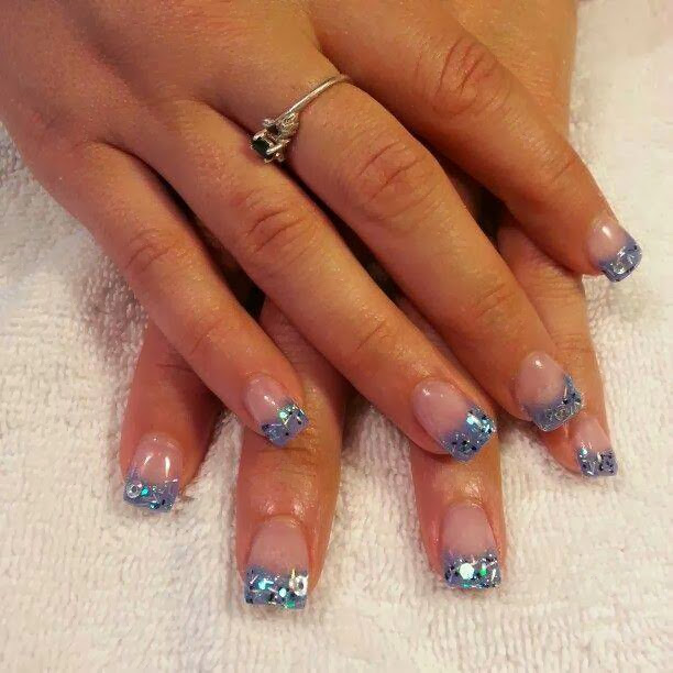 gel nails with embedded tinsel and sequins silver hazed glitz LED polish acrylic nail art