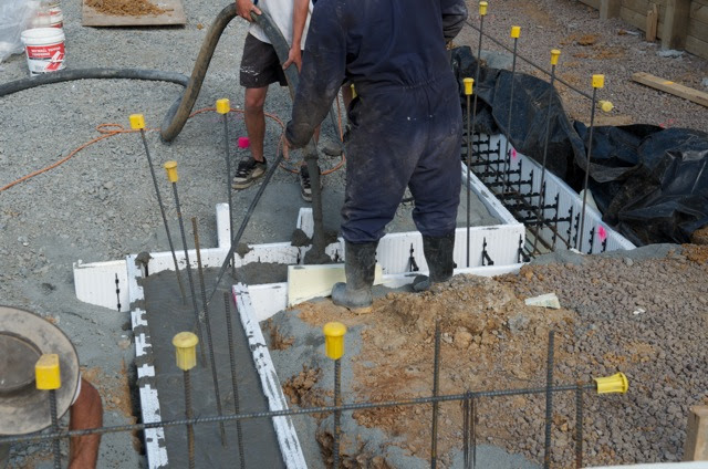 Ready Made Footings : Pouring of the concrete for footings new zealand
