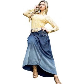 saia jeans evangelicas Moda evangélica 2013, saias para inverno