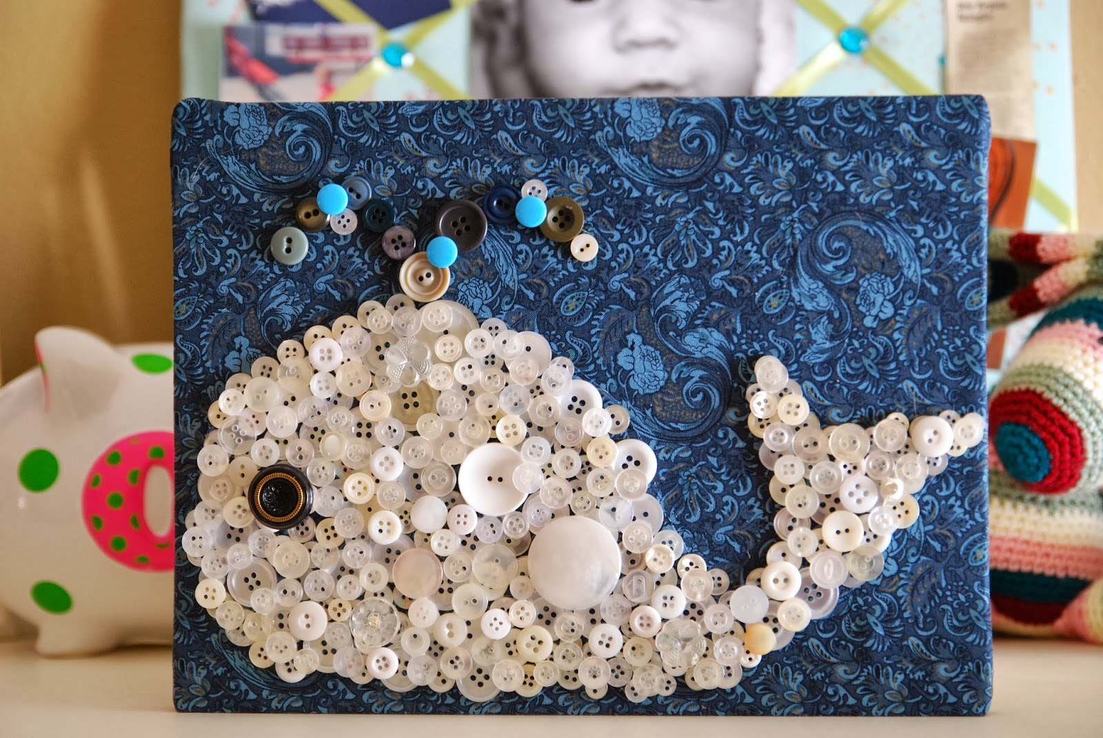 Vet School Widow | Whale Silhouette Wall Hanging from Vintage Buttons - Button Art for Toddler Room DIY
