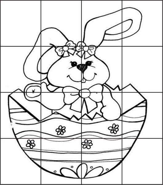 Desenhos Para Colorir Quebra cabeça palhaços e coelhos para recortar