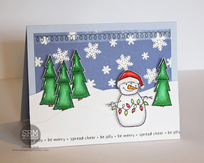 SRM Stickers Blog - Be Jolly • Be Merry • Spread Cheer by Amy - #card #christmas #clearstamps #janesdoodles #warmwishes #stickers #stitches #gingerbreadman