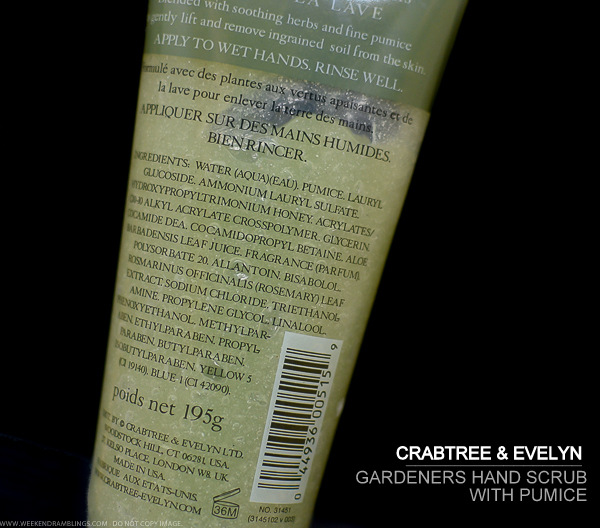 Crabtree-Evelyn Gardeners Hand Scrub with Pumice - Ingredients