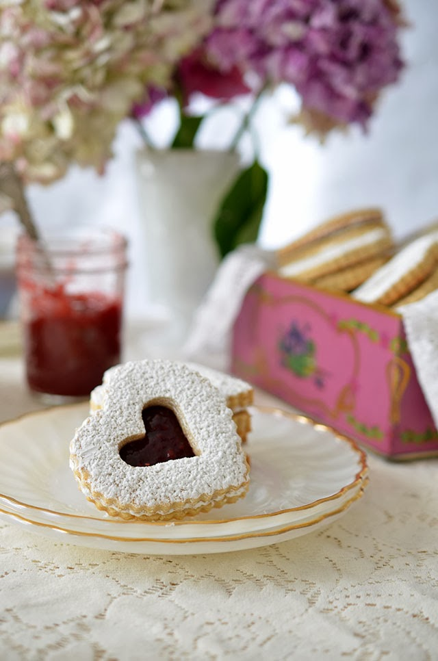 Heart of Gold: Valentines' Day Linzer Cookies with Raspberry Rose Jam