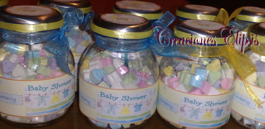 Recuerdos para baby shower con frascos de gerber - Imagui