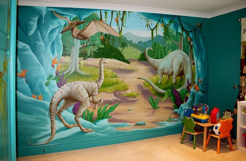Dormitorio de ni os decorado con dinosaurios arte en las - Ideas para decorar paredes infantiles ...