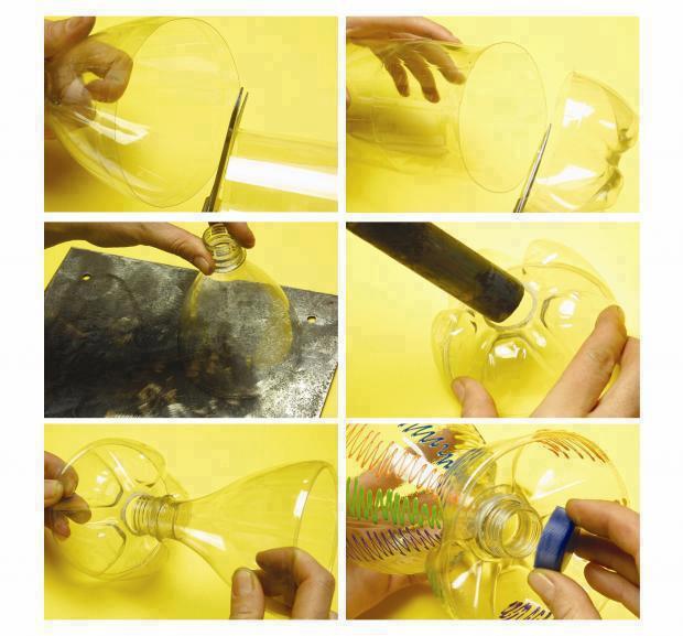 Copa para bebidas hecha a partir de botellas de plástico