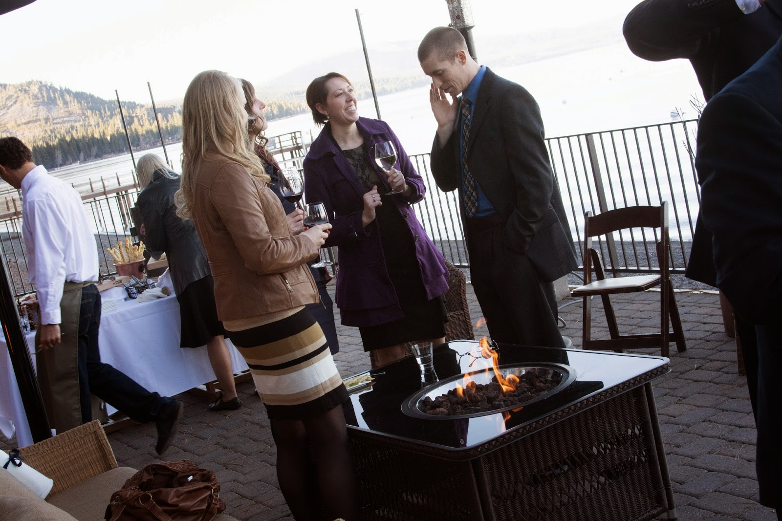 Outdoor cocktail hour by Lake Tahoe / West Shore Cafe / Take the Cake Event Planning