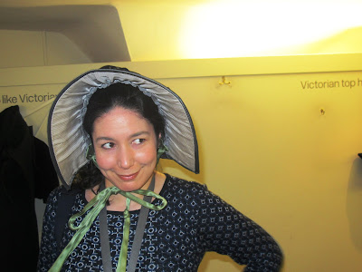 bonnet with green silk bow