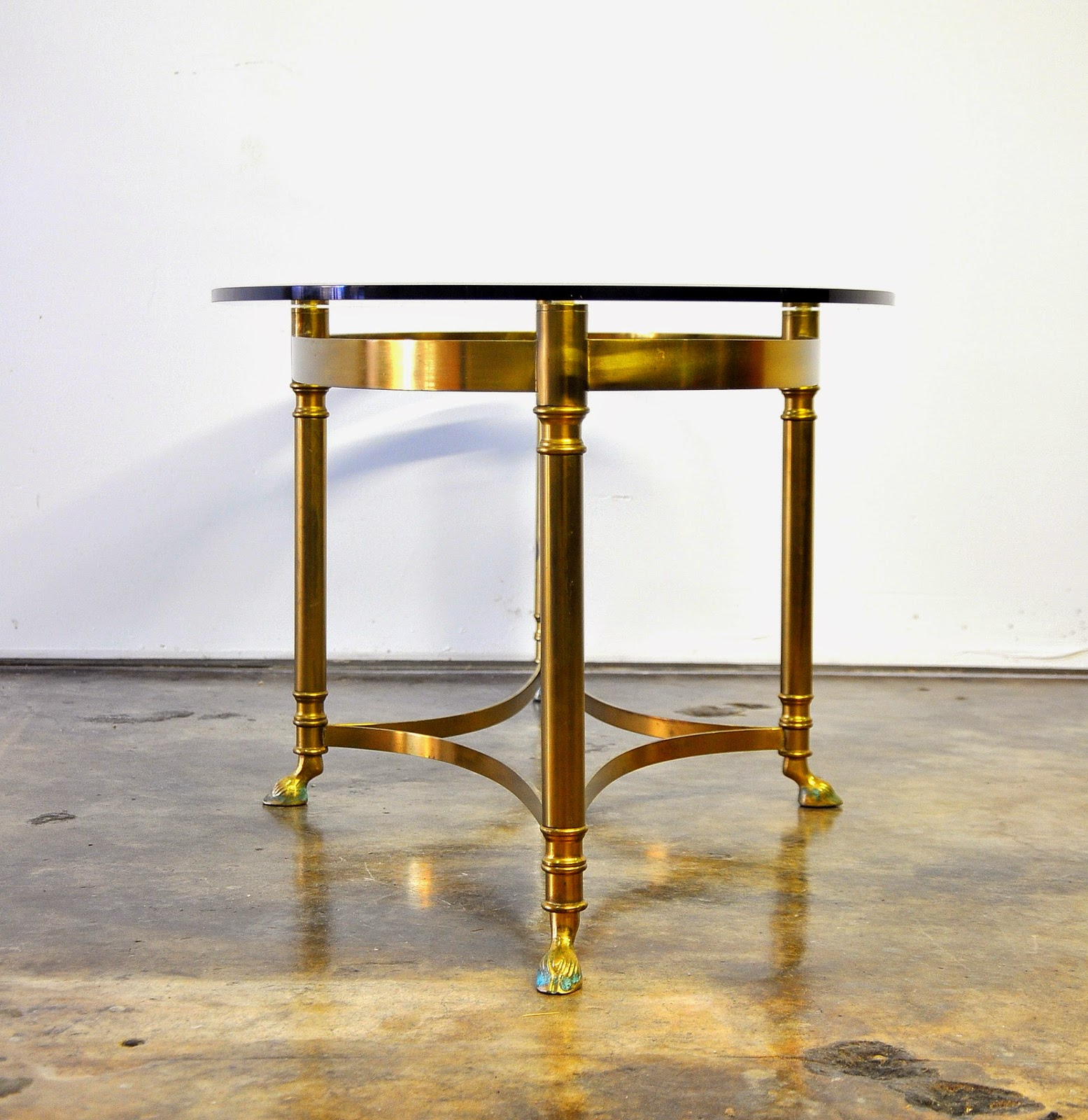 SELECT MODERN Hollywood Regency Brass and Glass Coffee or