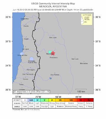 Epicentro terremoto 5,4 grados Argentina, 18 de Junio de 2012