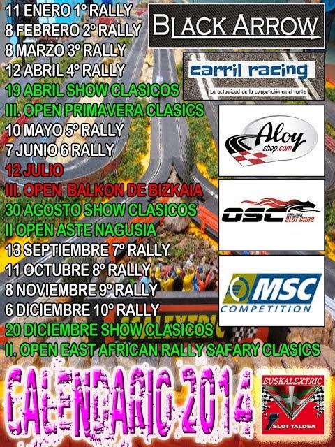 calendario rallyslot AESK 2014
