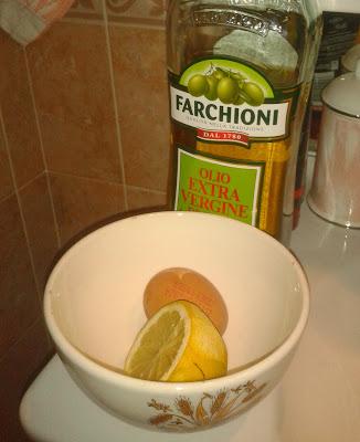 uovo, olio oliva, limone, maschera