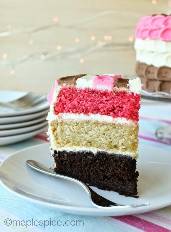 Neapolitan Layer Cake - Vegan