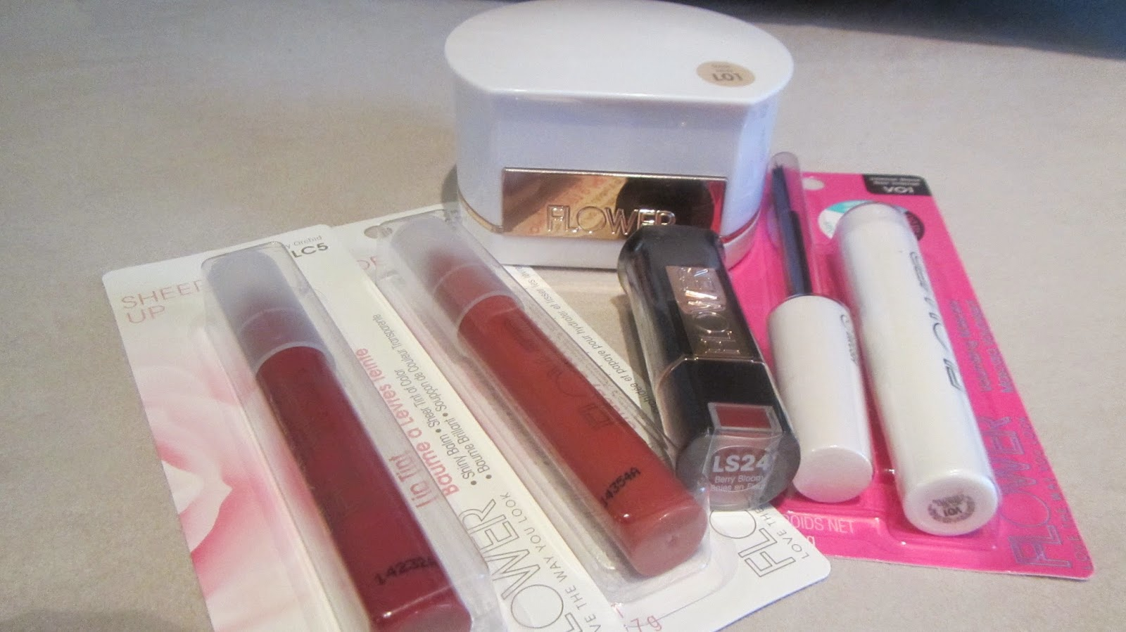 Red lip gloss beauty haul flower cosmetics by drew berrymore i picked up from left to right sheer up lip tint in airy orchid lip suede velvet lip chubby in berry more kiss stick luxury lip color in berry bloom izmirmasajfo