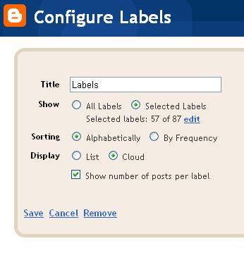 Configure Blogger Label Gadget