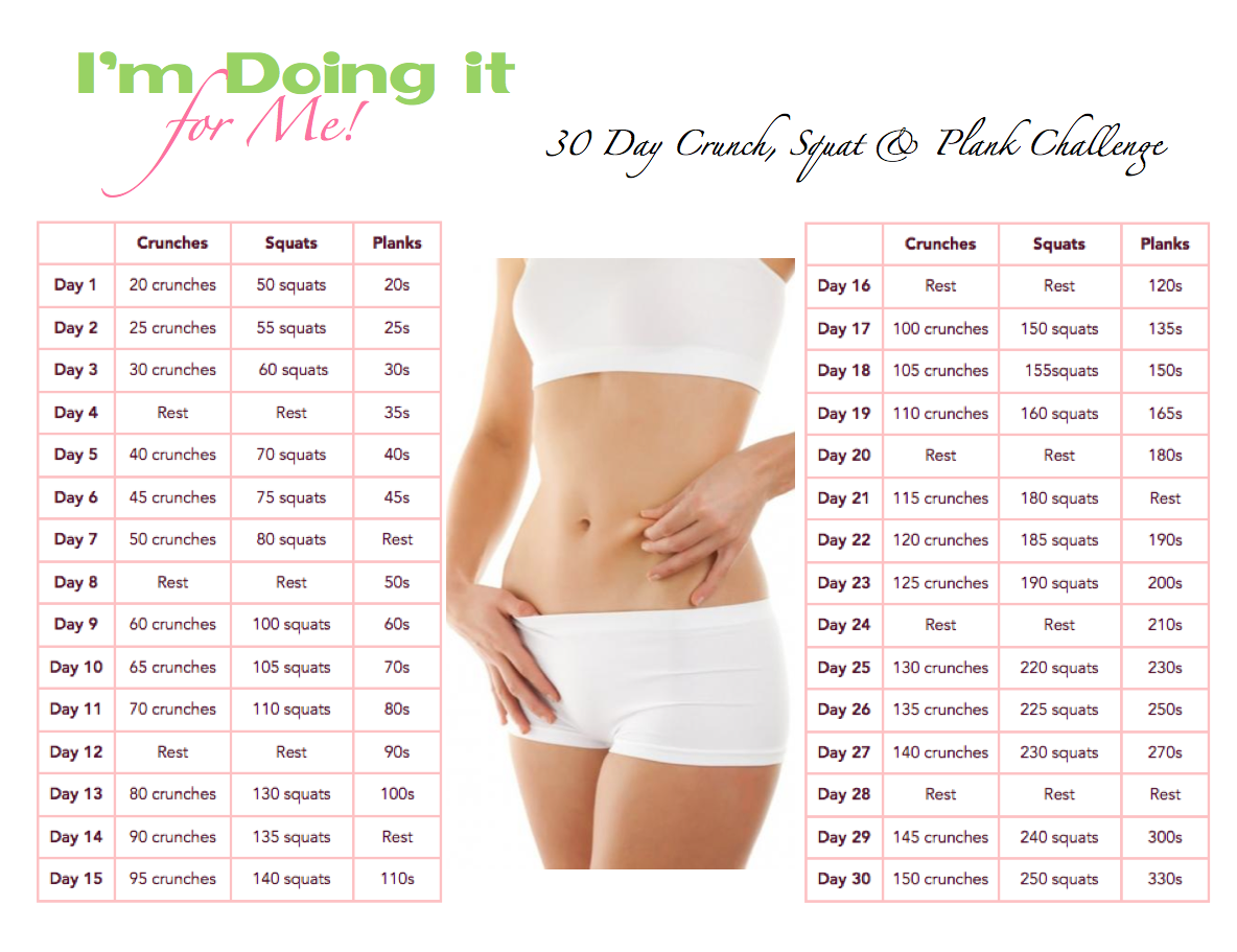 chart for 30 day fitness challenge