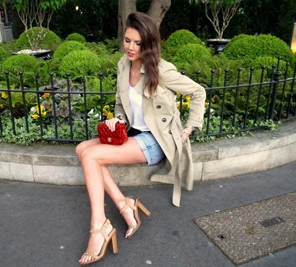 Trench coat, denim shorts & red Chanel bag