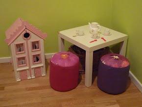 Cojines puf para habitación de niños.