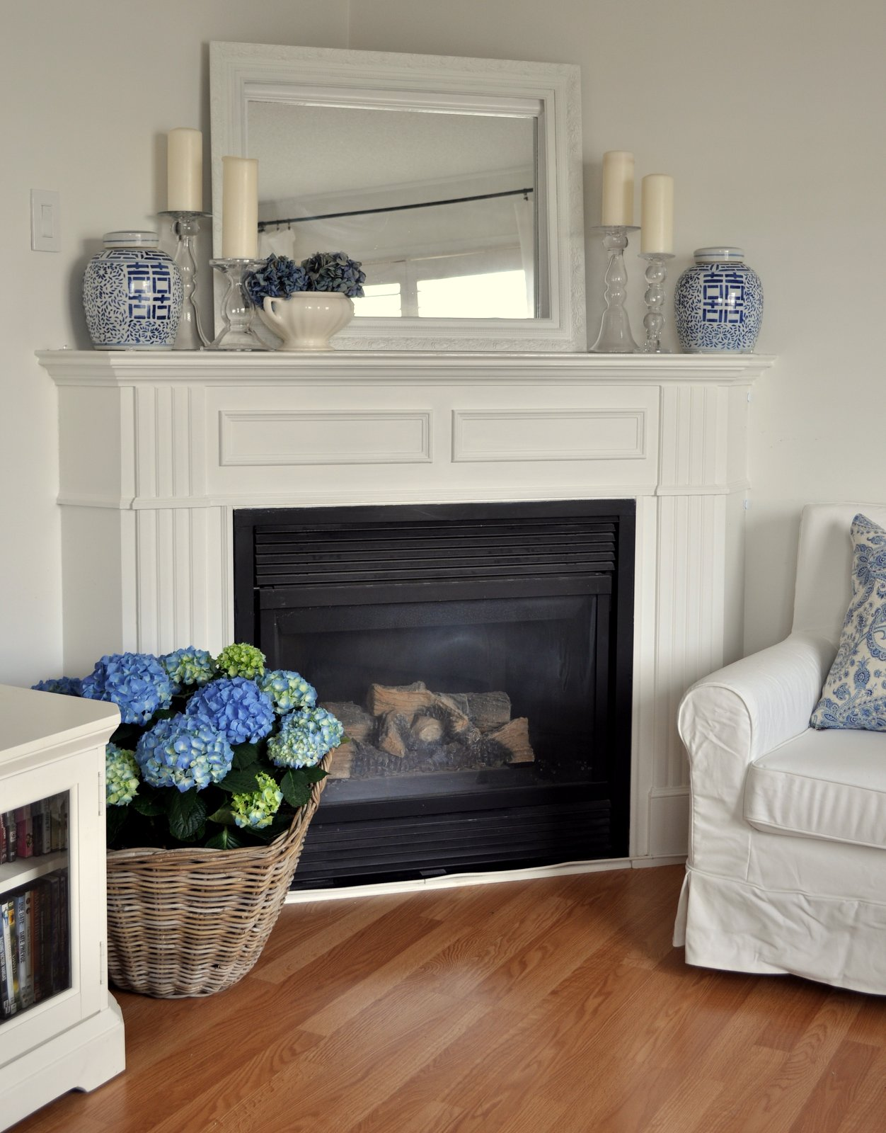 Restoration house spring mantel Corner fireplace makeover ideas
