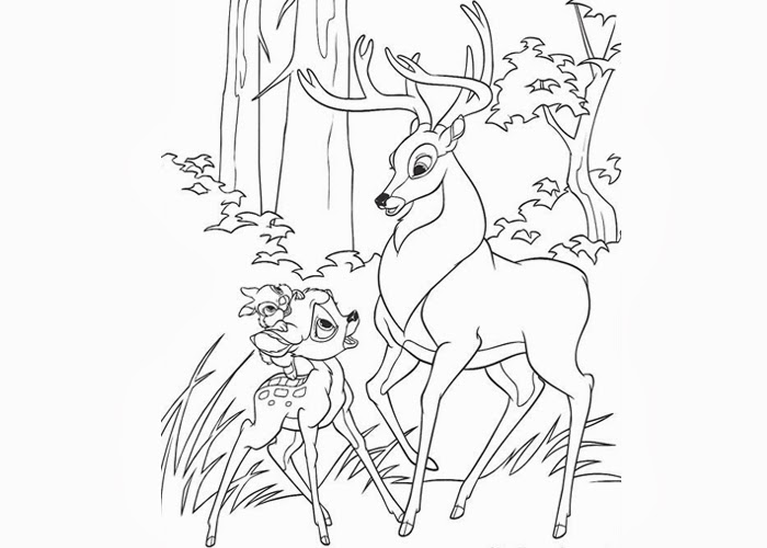 bambi thumper and roe coloring pages