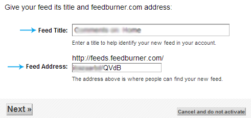 Feed title and address