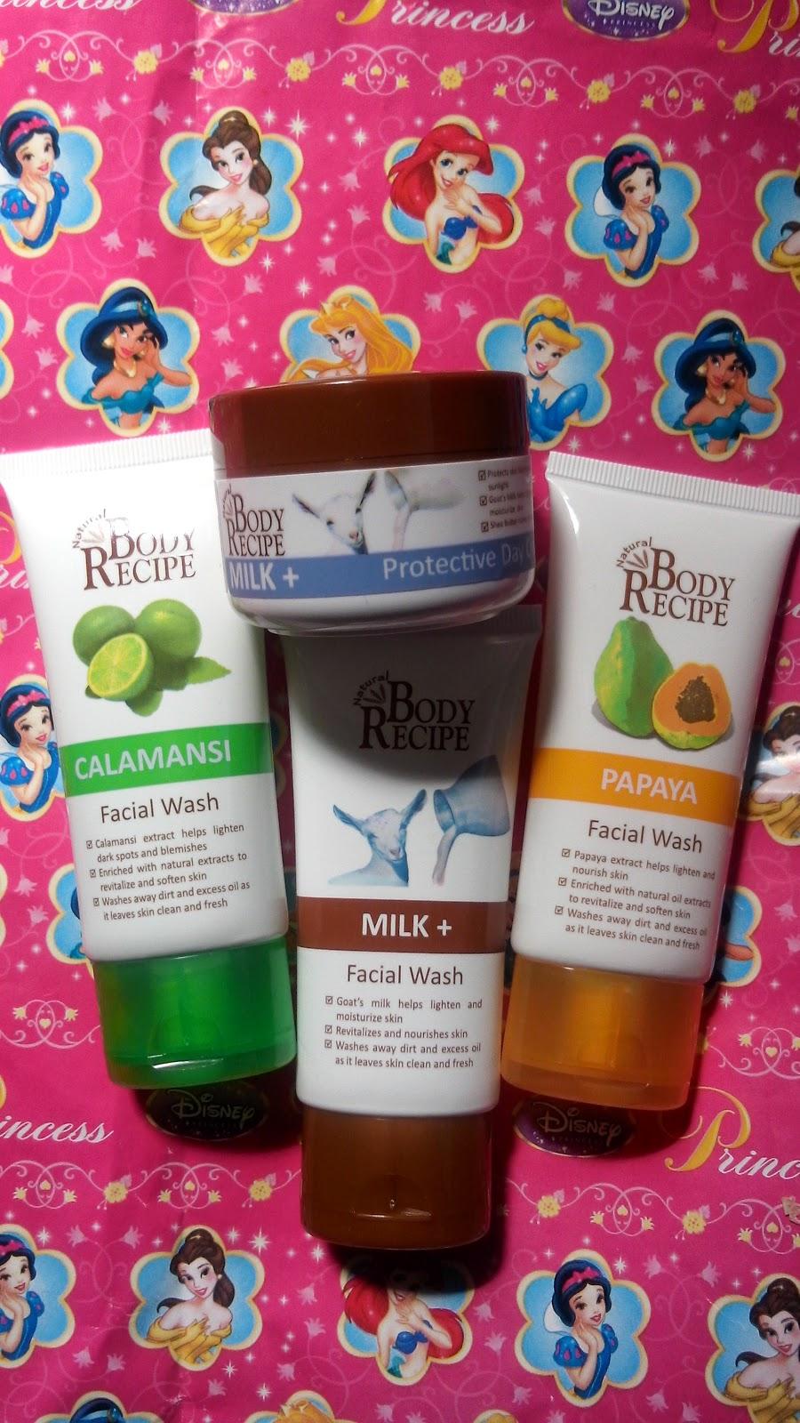 Natural Body Recipe Milk+ Protective Day Cream, Calamansi, Milk+ and Papaya Facial Wash
