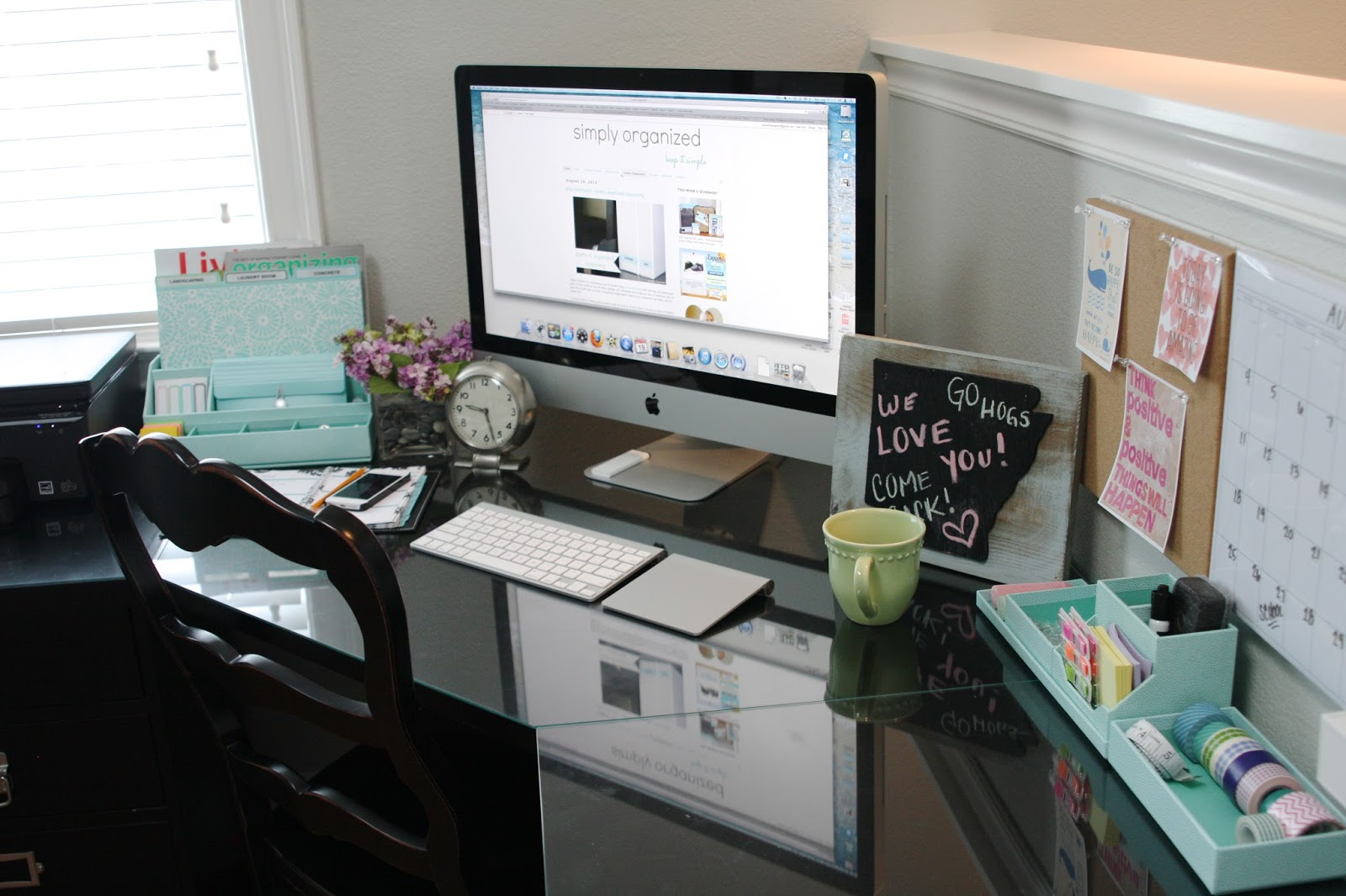 Organized desktop with martha stewart simply organized - How to organize your desk at home for school ...