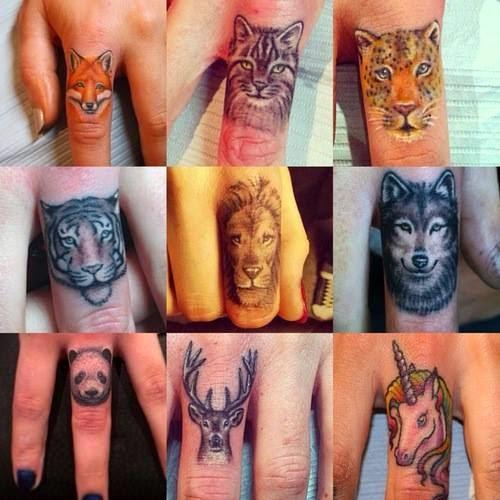 Tatuajes de rostros de animales en los dedos