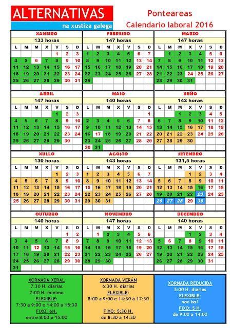 Ponteareas. Calendario laboral 2016
