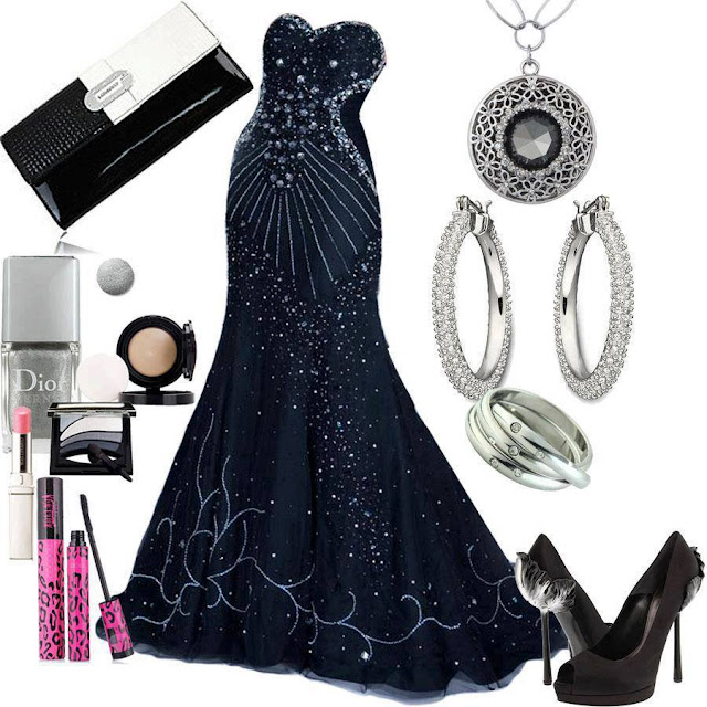 Black and silver wedding dress with full accesories