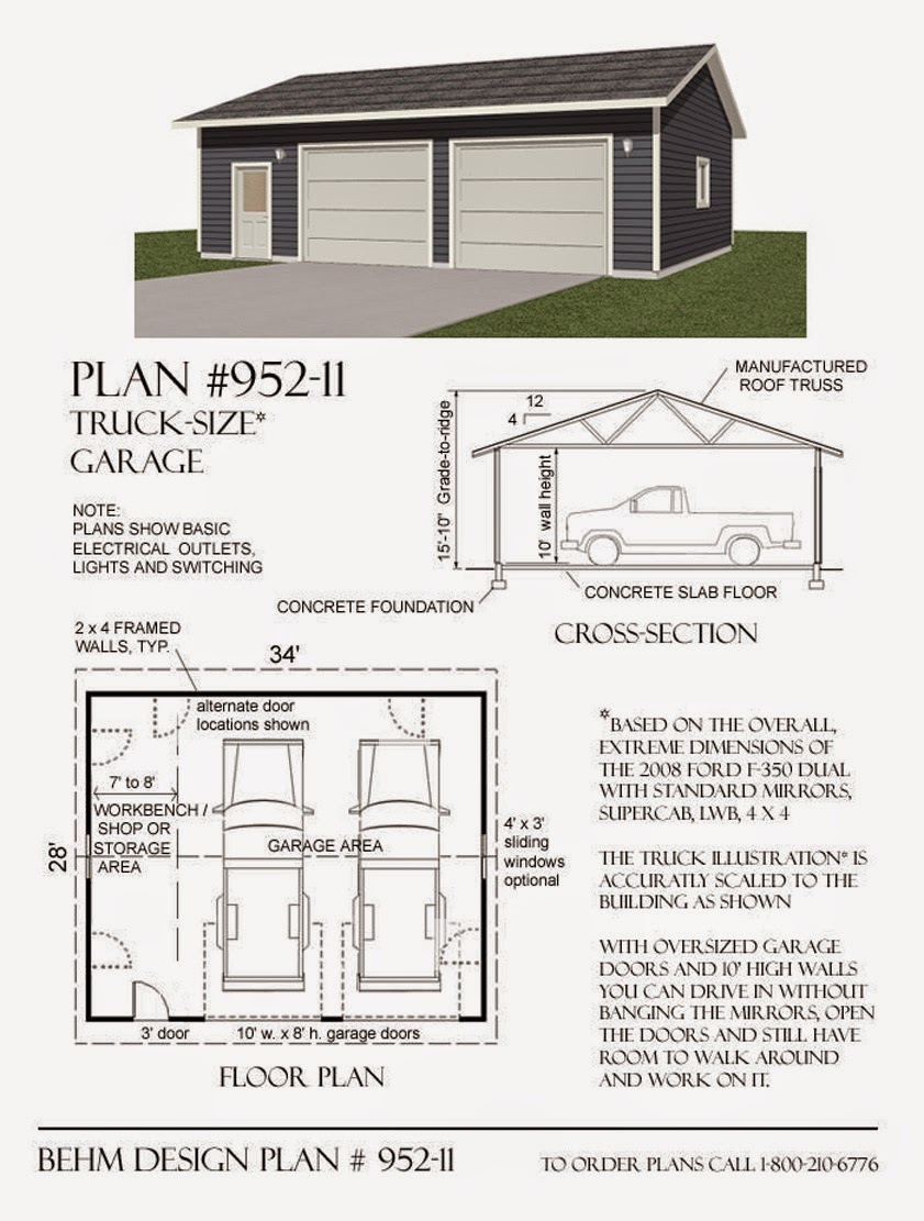 garage plans blog behm design garage plan examples garage garage plan 952 11 truck sized 2 car with 10 walls 34 x 28