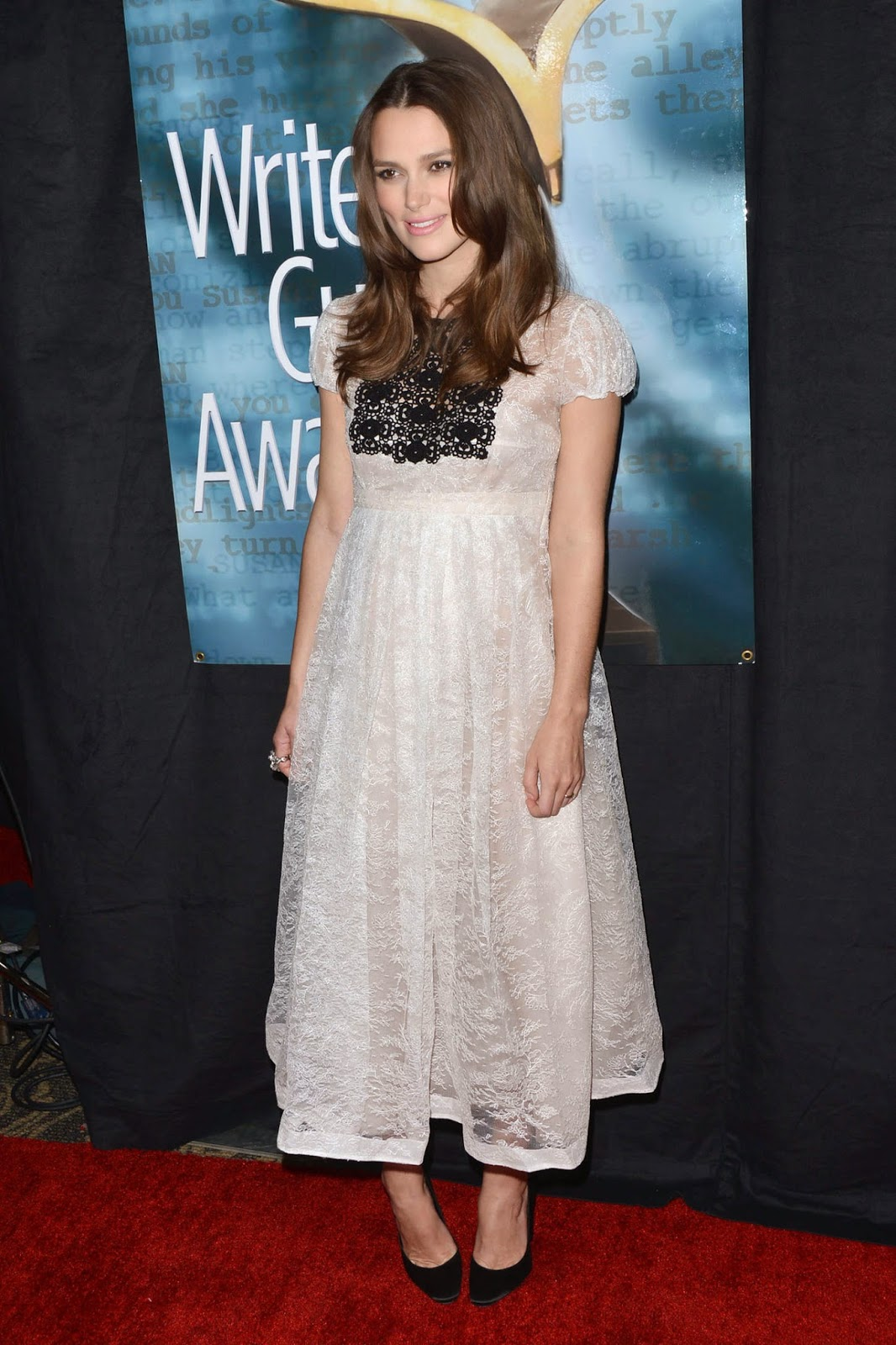 Pregnant Keira Knightley glows in a white lace dress at the 2015 Writers Guild Awards in LA
