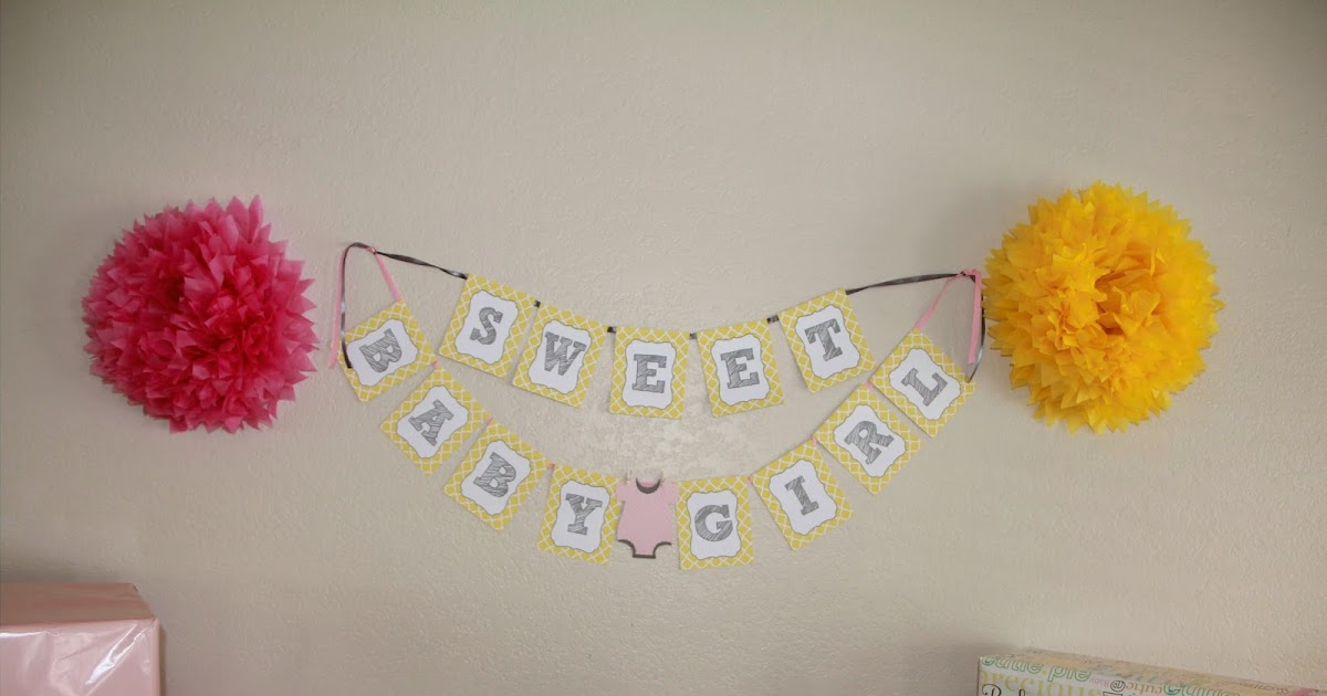 Park Talk Printables: Sweet Baby Girl Shower- Yellow/Grey/Pink