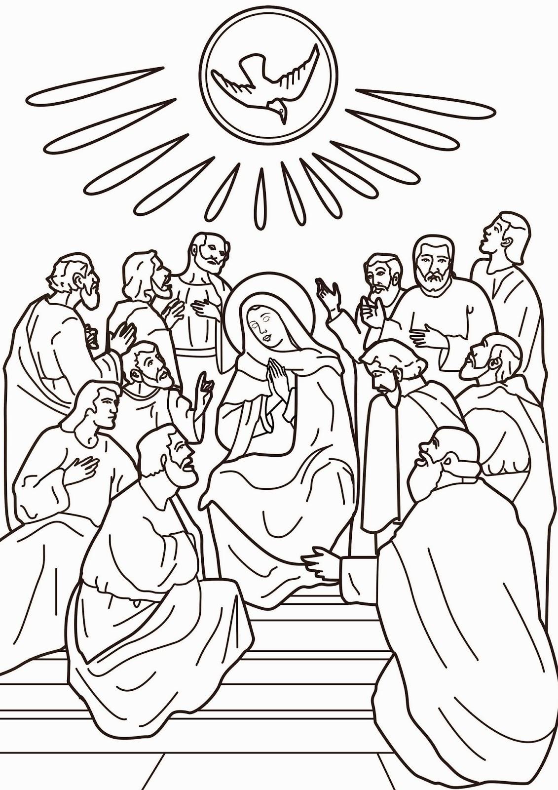 Imagenes Cristianas Para Colorear: La Venida Del Espiritu Santo Para ...