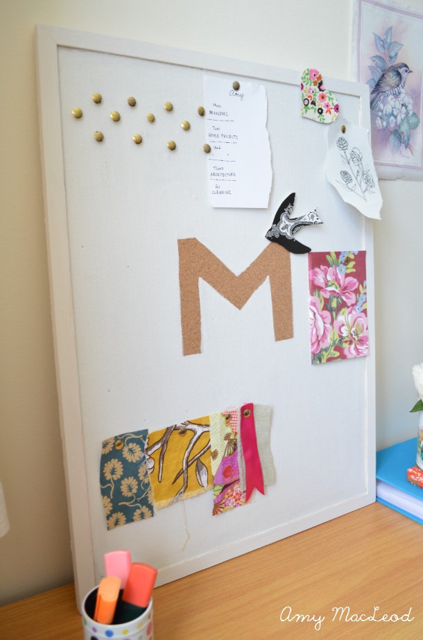 DIY personalised painted pinboard by Amy MacLeod - Five Kinds of Happy blog