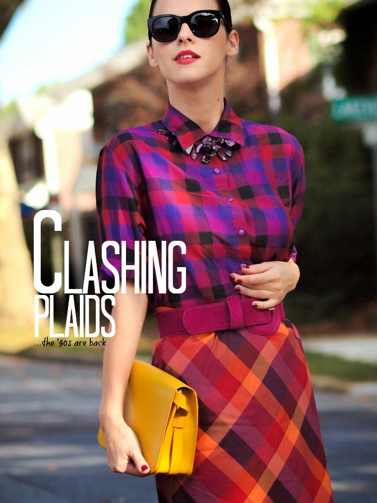 bittersweet colours, Plaid trend, COLORS, fall colors, esprit, Joe fresh, vintage, Shoemint, street style, prints,clashing plaids