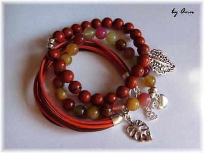 bransoletki na jesień brąz czerwień i pomarańcz zawieszki jaspis agat