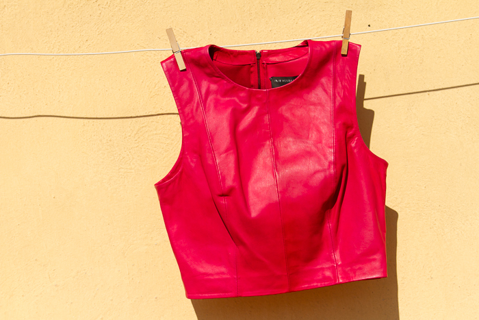 Arkansas Leather Cropped Bodice in Red  MUUBAA