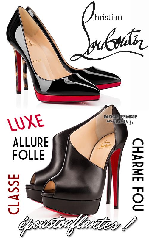 Escarpins noirs et rouge à plateformes Louboutin